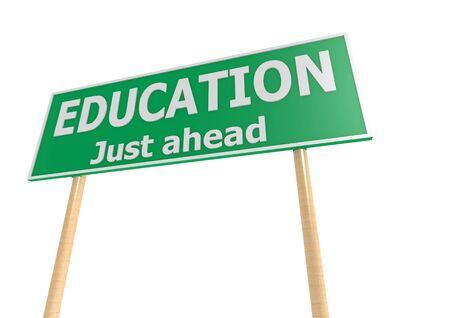 educacion gratis: Educaci�n Green Road Sign Foto de archivo