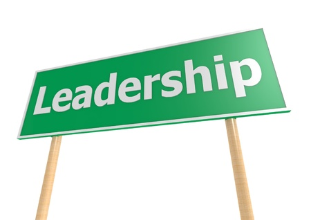 Road sign with text Leadership photo