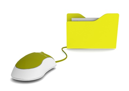Yellow file with mouse photo