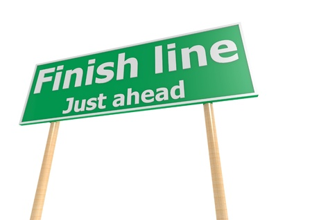 Street sign with finish line word Imagens