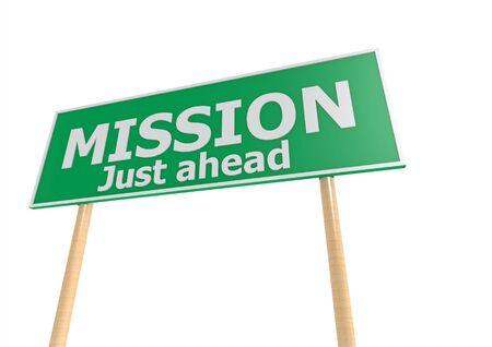 Street sign with mission word Stock Photo