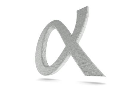 Shiny Lower Greek Letter Alpha Stock Photo