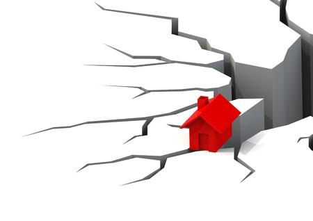 earthquake crack: Falling real estate