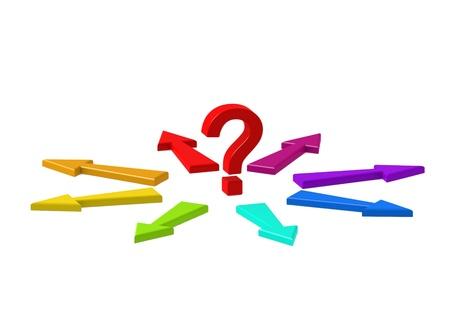 Punto interrogativo e frecce Molti