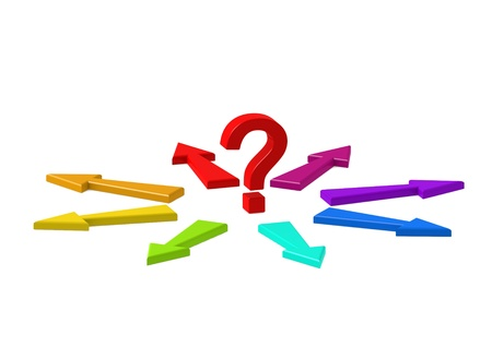 Question Mark and Many Arrows  Stock Photo - 14958746