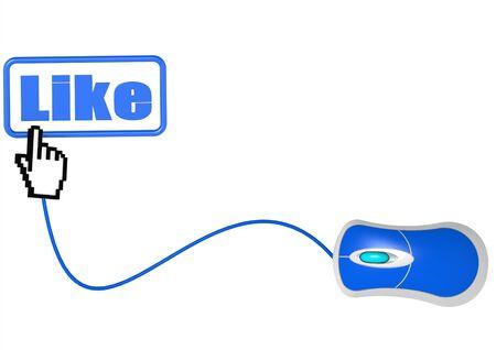 LIKE word and hand cursor photo