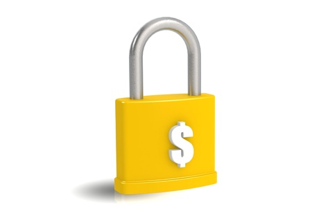transference: Money and padlock Stock Photo