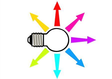 Light bulb color arrow Stock Photo