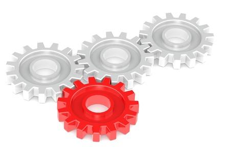 concept images: Ingranaggi che girano insieme, uno in rosso