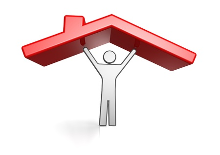 Man and housing roof Stock Photo - 15362384