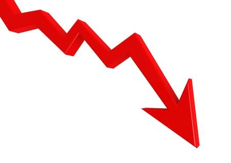 Red graph down Reklamní fotografie