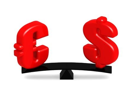 Euro and Dollar on the balance photo