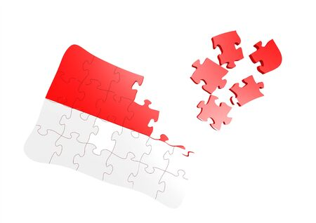 Indonesia flag puzzle Stock Photo - 16080714