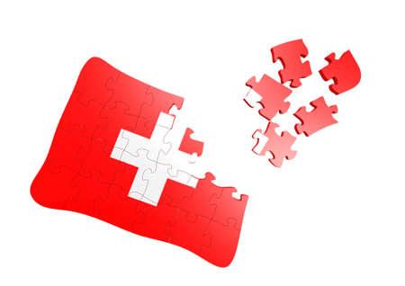 Swiss Flag Puzzle Stock Photo - 16080719