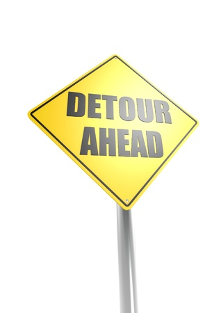 Warning Sign - Detour Ahead Stock Photo - 16613155