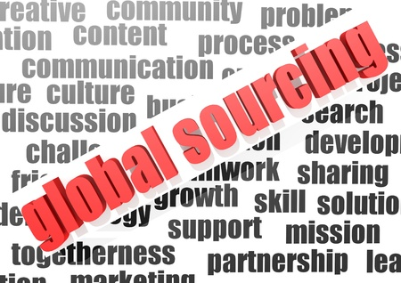 crowd sourcing: business work of global sourcing Stock Photo
