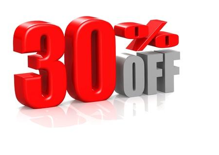 30: 30 percent off Stock Photo