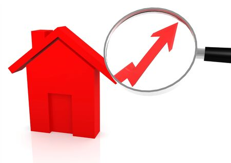 go up: House price go up Stock Photo