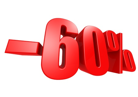minus: Minus 60 percent Stock Photo
