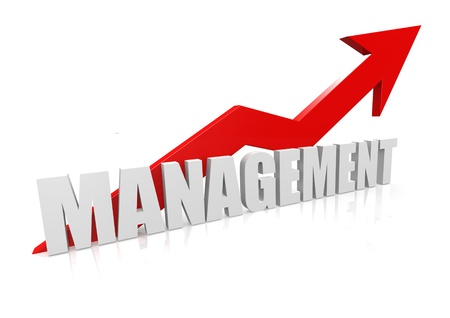 Management with upward red arrow Stock Photo - 17346104