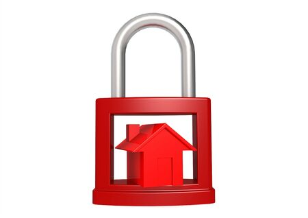 Red house in the red padlock Stock Photo - 17346107