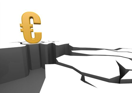 fiscal cliff: Euro on the cliff Stock Photo