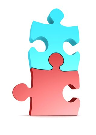 Red blue puzzles Stock Photo - 17372774