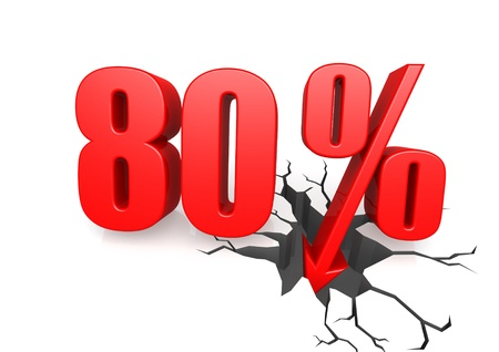 achtzig: Achtzig Prozent nach unten Lizenzfreie Bilder