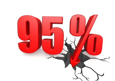 Ninety five percent down Stock Photo - 17622760