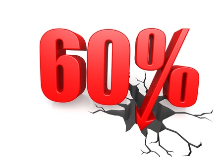 sixty: Sixty percent down Stock Photo