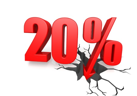 Twenty percent down Stock Photo - 17622749