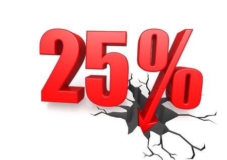 Twenty five percent down Stock Photo - 17622754