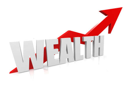 Wealth with upward red arrow photo