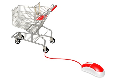 comerce: Computer mouse connect to shopping