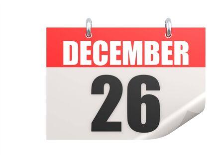 december kalender: Kalender 26 december Stockfoto