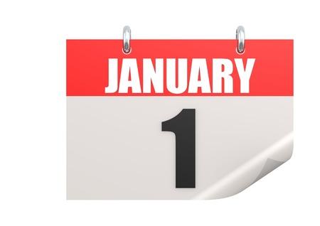 january 1: Calendar January 1 Stock Photo