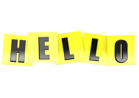 Hello in yellow note Stock Photo - 17755666