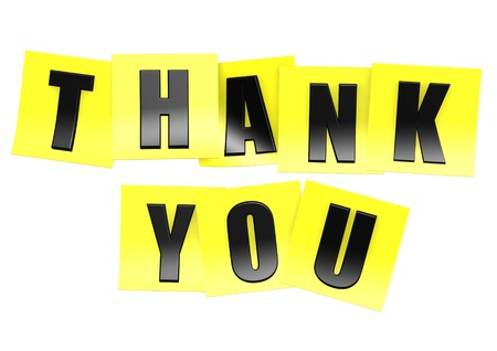 notelet: Thank you in yellow note Stock Photo