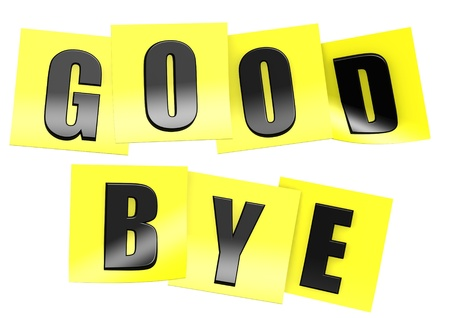 good bye: Good bye in yellow note