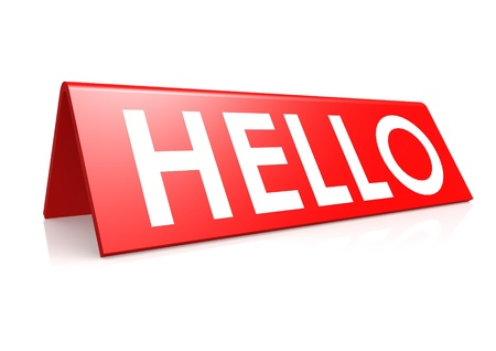 Hello tag in red Stock Photo - 18101421
