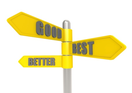 good better best: Good better best sign post
