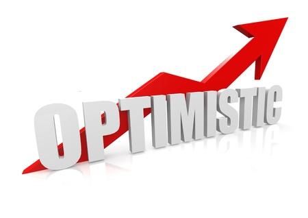 Optimistic with upward red arrow photo