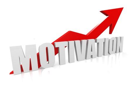 ins: Motivation with upward red arrow Stock Photo