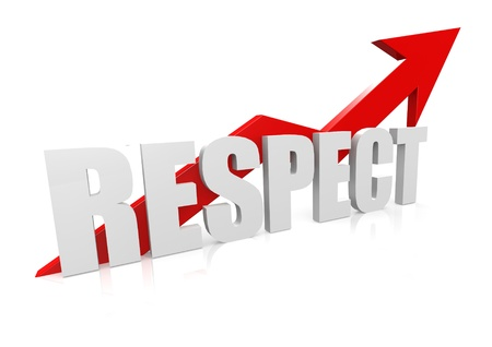 higher quality: Respect with upward red arrow