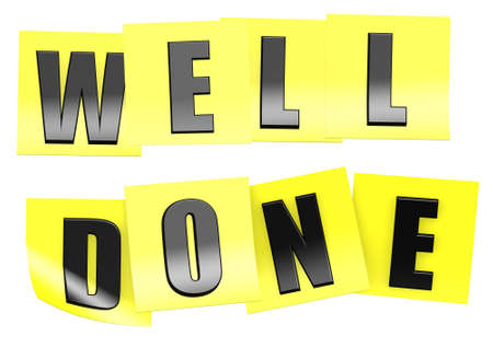 done: Well done in yellow note