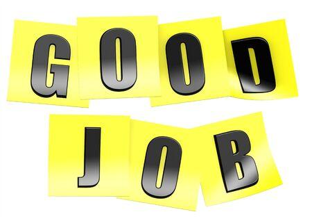 good job: Good job in yellow note