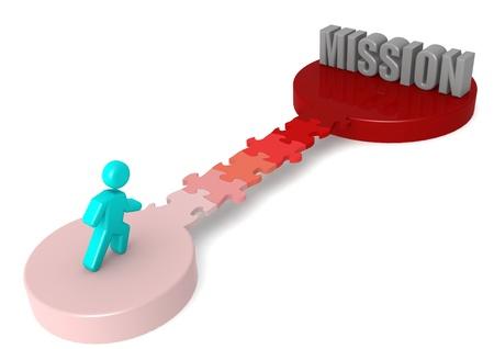 vision problems: Puzzle bridge to mission Stock Photo