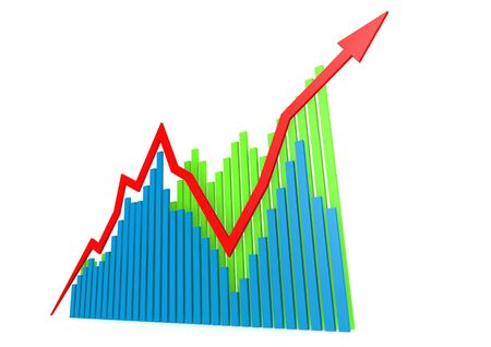Blue green growing graphs Stock Photo