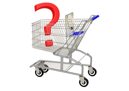 Question mark in shopping cart Stock Photo - 18416848