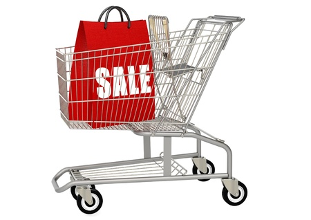 Shopping bag in shopping cart Stock Photo - 18405222